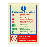 Passenger Fire Action (Marine Sign)