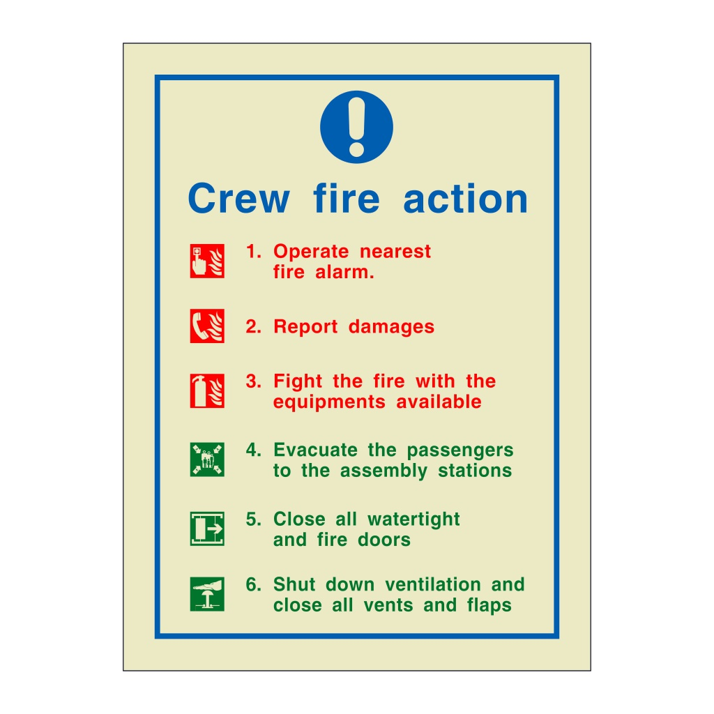 Crew Fire Action (Marine Sign)