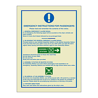 Emergency Instructions For Passengers (Marine Sign)