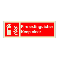 Fire Extinguisher Keep Clear with Text (Marine Sign)