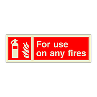 Fire Extinguisher For Use On Any Fires with Text (Marine Sign)