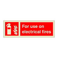 Fire Extinguisher For Use on Electrical Fires with Text (Marine Sign)