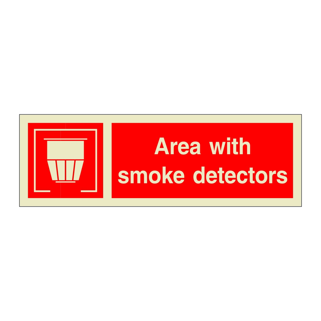 Area With Smoke Detectors with Text (Marine Sign)