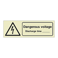 Dangerous Voltage Discharge Time with Text (Offshore Wind Sign)