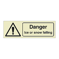 Danger Ice or snow falling with Text (Offshore Wind Sign)