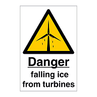 Falling Ice from Turbines with Text (Offshore Wind Sign)