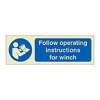 Follow Operating Instructions for Winch with Text (Offshore Wind Sign)