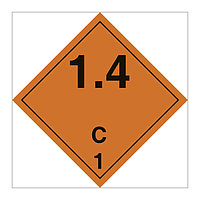 Hazard Diamond Class 1 Explosive Substances or Articles Division 1.4 C (Marine Sign)