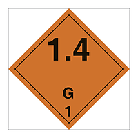 Hazard Diamond Class 1 Explosive Substances or Articles Division 1.4 G (Marine Sign)