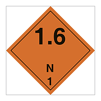 Hazard Diamond Class 1 Explosive Substances or Articles Division 1.6 N (Marine Sign)