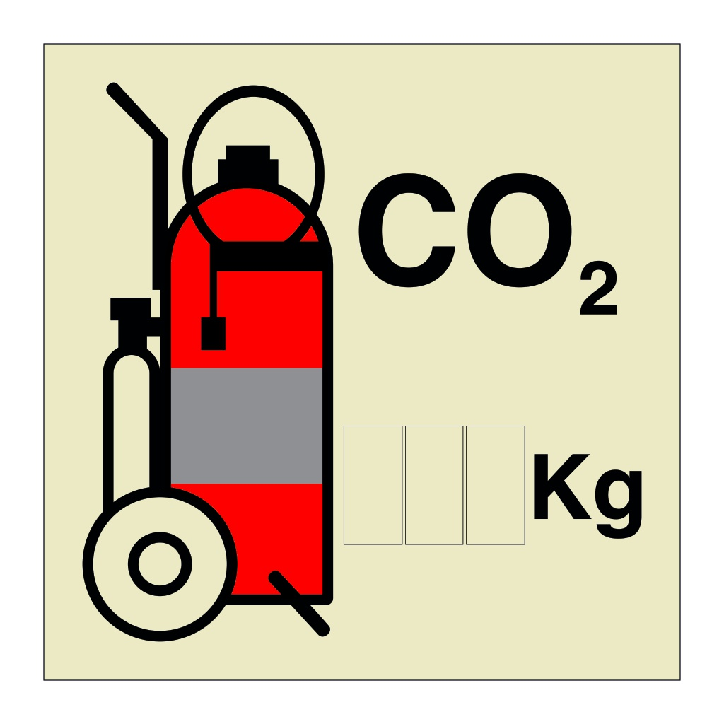CO2 Wheeled Fire Extinguisher (Marine Sign)
