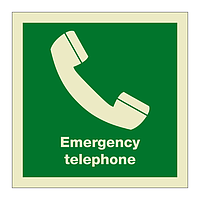 Emergency Telephone with Text (Marine Sign)