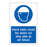 Hard hats must be worn on this site at all times sign