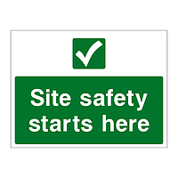 Site safety starts here sign