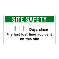 Lost time accident site safety board