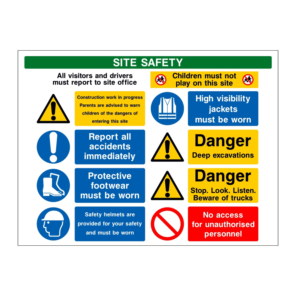 9 Multi-Message Site Safety Board