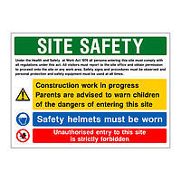 H&S Act Site Safety board