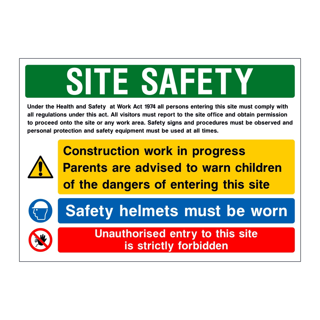 3 Multi-Message H&S Act Site Safety board