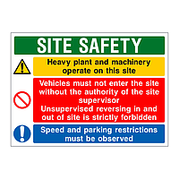 Heavy plant and machinery Site Safety board