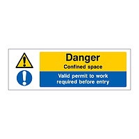 Danger Confined space Valid permit to work required sign