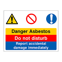 Danger Asbestos multi-message sign