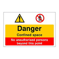 Danger Confined space No unauthorised persons sign