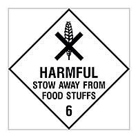 Harmful Stow away from foodstuffs Class 6 Hazard Warning Diamond sign