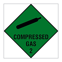 Compressed Gas Class 2 Hazard Warning Diamond sign