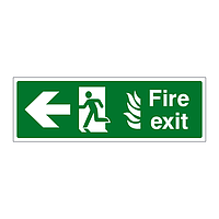 Fire Exit NHS Running Man Arrow Left sign