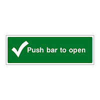 Push bar to open sign