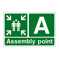 Assembly Point A with arrows sign