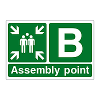 Assembly Point B with arrows sign
