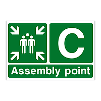 Assembly Point C with arrows sign