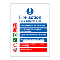Fire Action Sign with symbols Building with Lift/Fire Brigade called automatically