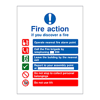 Fire Action Sign with symbols Building with Lift version