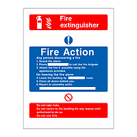 Fire Action & Fire Extinguisher Sign