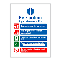 Fire Action Sign with symbols No lift version