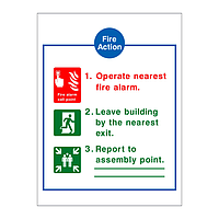 Fire Action Sign 3 point sign (with symbols)