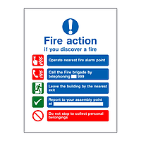 Fire Action Sign 5 point sign (with symbols)