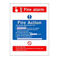 Fire Action & Fire Alarm sign (no lift)