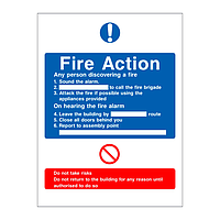 Fire Action Sign 6 point (No lift)