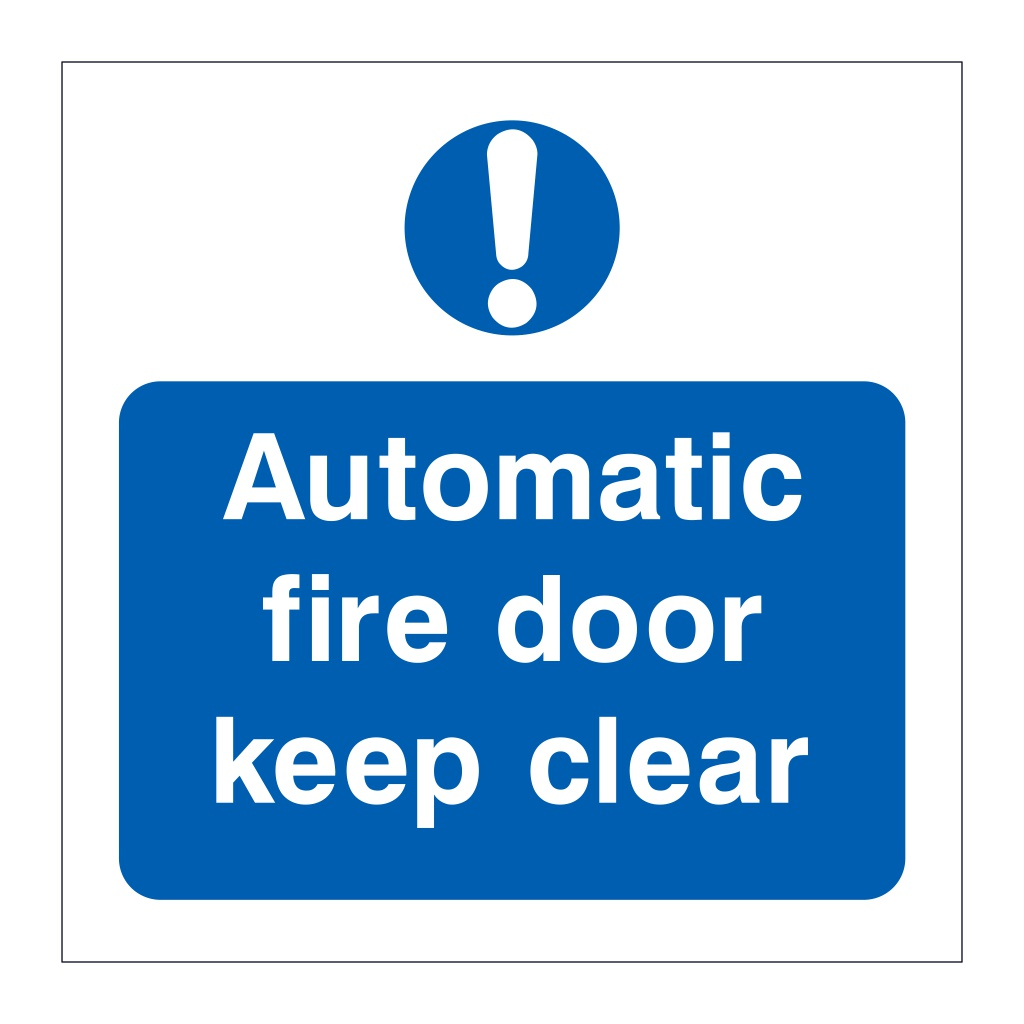 Automatic fire door keep clear symbol sign