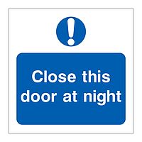 Close this door at night symbol sign