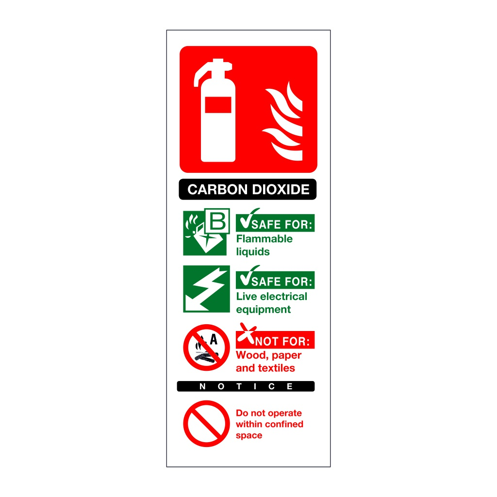 Carbon Dioxide fire extinguisher Identification Sign