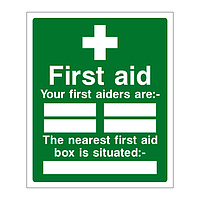 First Aid Your first aiders are/Nearest first aid box is sign