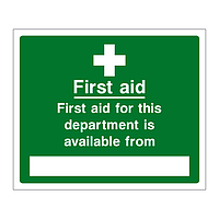 First aid for this department is available from sign