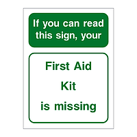 First Aid kit is missing sign