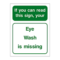 Eye wash is missing sign