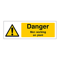 Danger Men working on plant sign