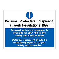 Personal Protective Equipment at Work Regulations 1992 Personal Protective Equipment is provided